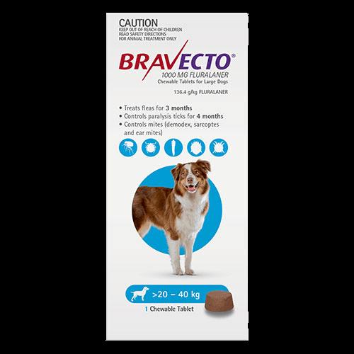 Bravecto Chewables Large Dogs Blue