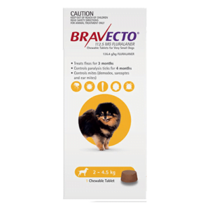 Bravecto Chewables Very Small Dogs Yellow